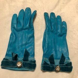 Coach Gloves with Velvet Embellishments
